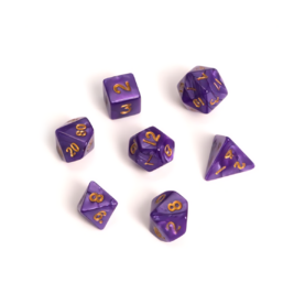 Blackfire Dice - Fairy Dice RPG Set - Marbled Purple (7 Dice)